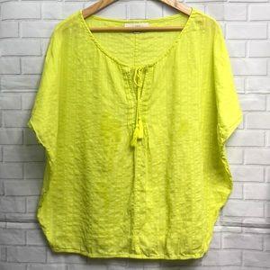 LOFT Bright Yellow Dolman Tunic Top